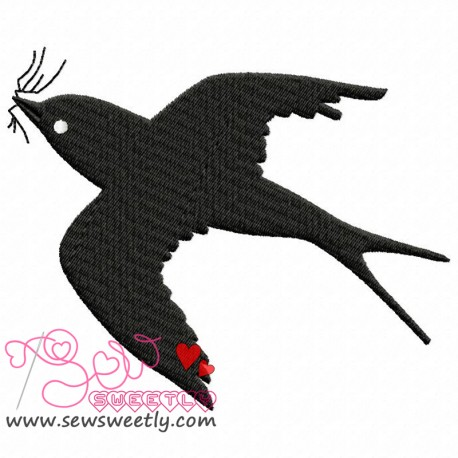 458x458 Flying Bird Silhouette Embroidery Design