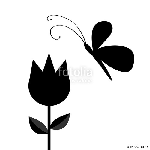 500x500 Tulip Flower With Leaf And Flying Butterfly Insect Black
