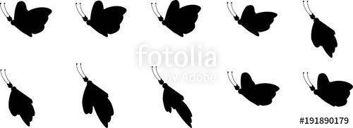 500x182 Animation Sprite Sheet, Loop Animation, Butterfly, Flying