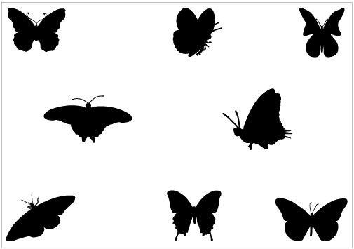 505x355 Butterfly Silhouette Clip Art Pack Vector Graphics, Clip Art