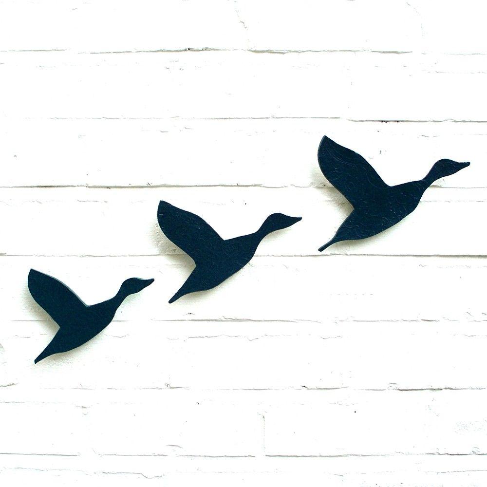 1000x1000 Ceramic Wall Art Flying Ducks Flock In Navy Blue Pottery Bird
