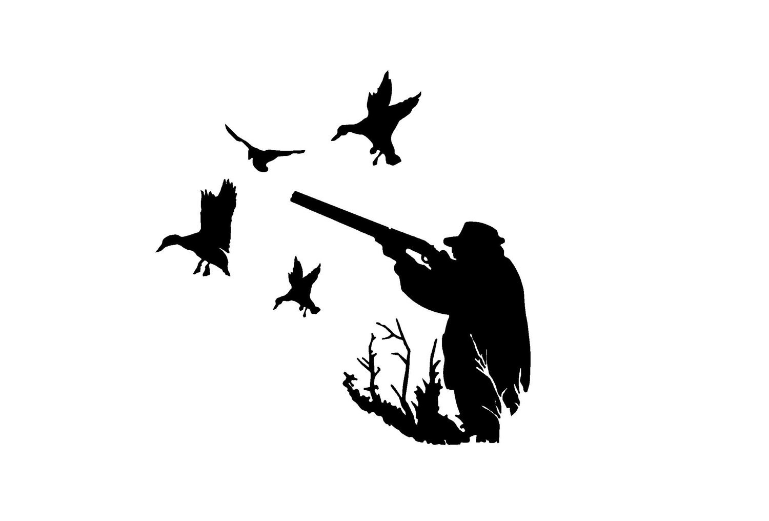 1500x1016 Duck Hunting Silhouette Decals