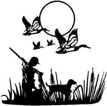 350x344 Hunter And His Lab, With Flying Ducks Overhead, Vinyl Cut Decal