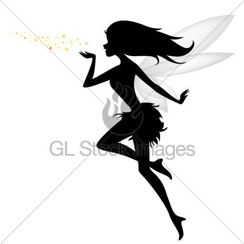 500x500 Silhouette Of Flying Fairy With Flower For You Design Gl Stock