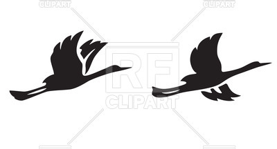 400x216 Black Silhouettes Of Flying Birds Royalty Free Vector Clip Art