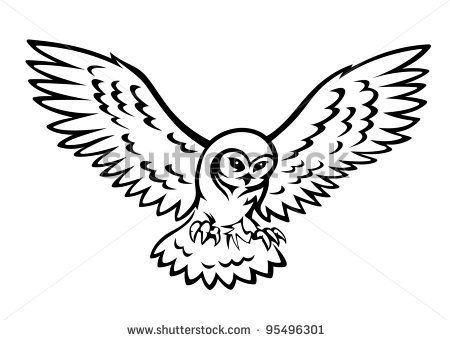 450x340 Flying Owl For Mascot Or Emblem Design Isolated On White