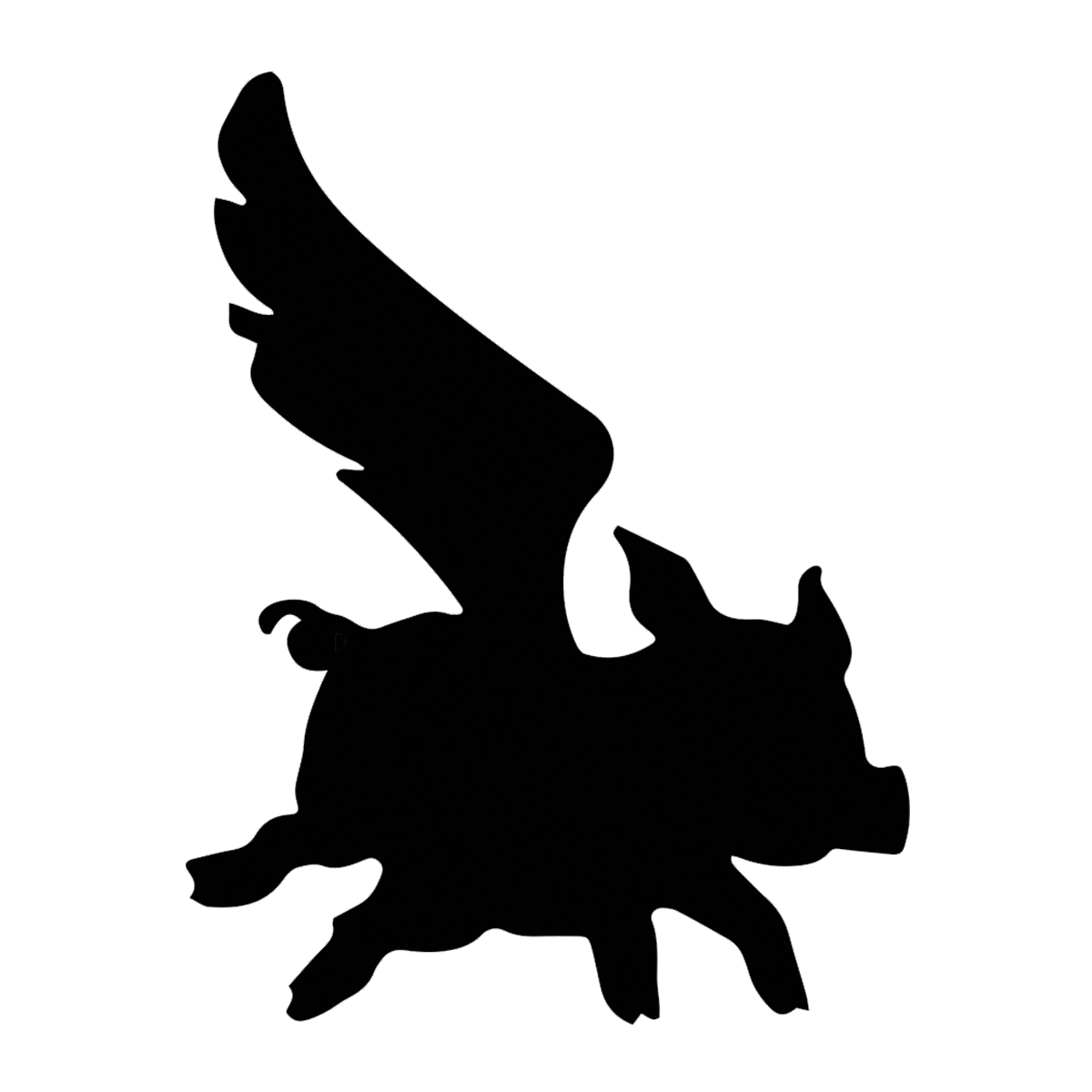 1200x1200 Flying Pig Silhouette Vinyl Decal