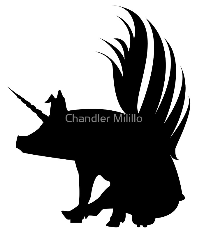 700x800 Flying Pig Unicorn Silhouette Art Prints By Chandler Milillo