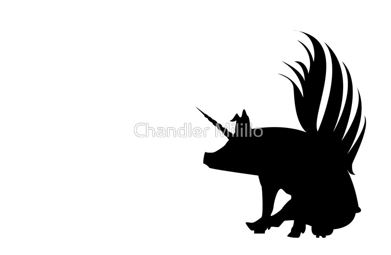 800x522 Flying Pig Unicorn Silhouette Laptop Skins By Chandler Milillo