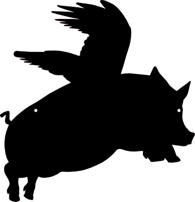 400x416 Free Black Pig Silhouette Clipart