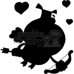 300x300 Royalty Free Cartoon Silhouette Cupid Pig Flying With Hearts