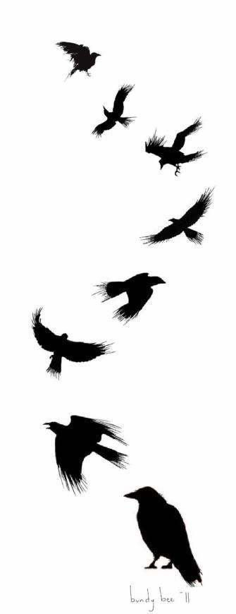 335x870 Read Complete Silhouette Flying Ravens Tattoo Design By Badmusic