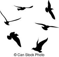 199x194 Black Seagulls. Black Seagull Silhouettes Vector Illustration
