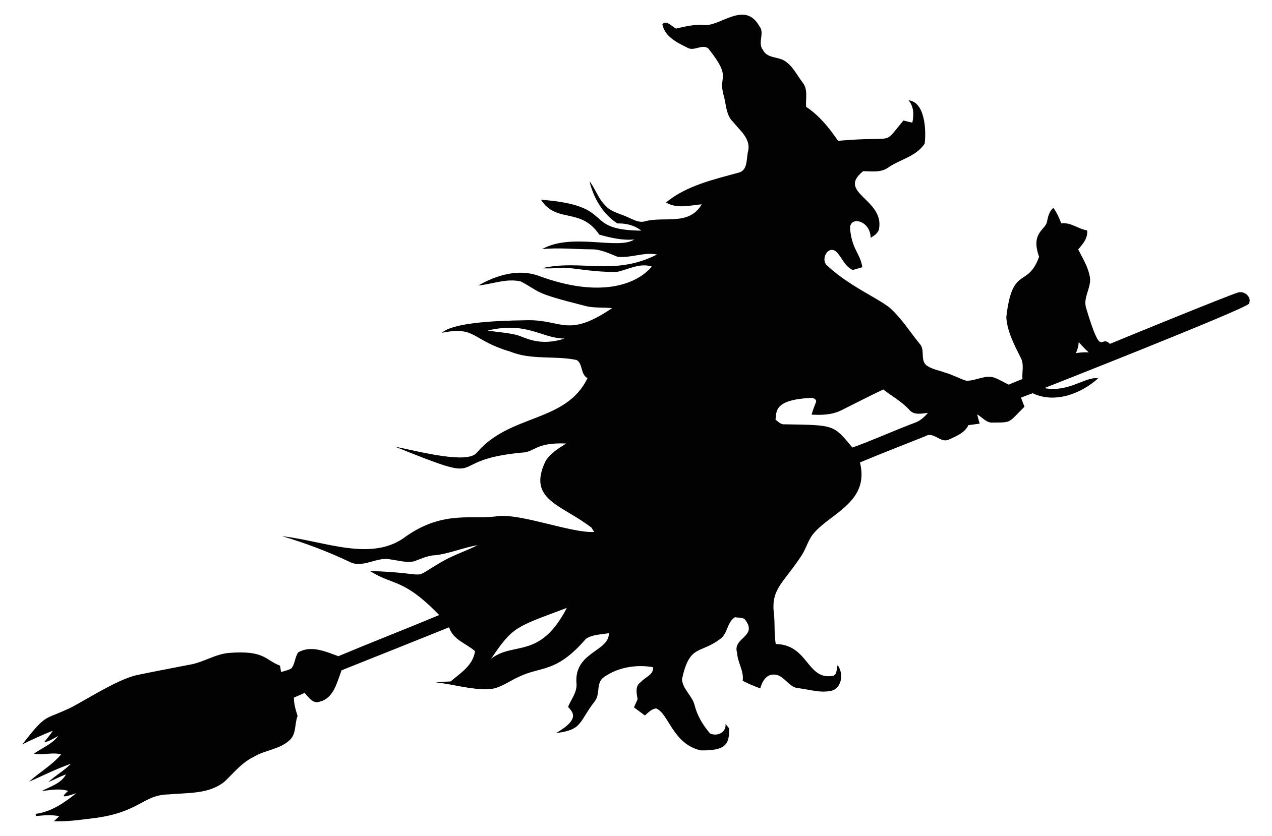 2522x1658 Witch Flying Broom Silhouette Clipart