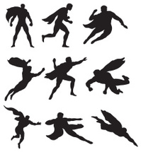 199x215 Black Silhouettes Superheroes Stock Vector