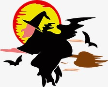 223x180 Flying Witch Silhouette, Halloween, Witch, Broom Png Image