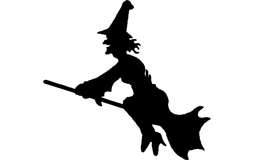 1002x633 Flying Witch Silhouette Dxf File Free Download