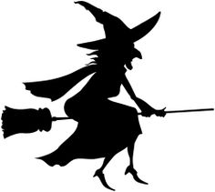 236x211 vinyl wall lettering halloween flying witch on broom black cat