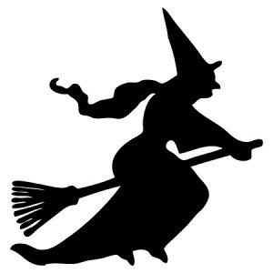 300x300 Happy Halloween Flying Witch, Decal Sticker Vinyl Car