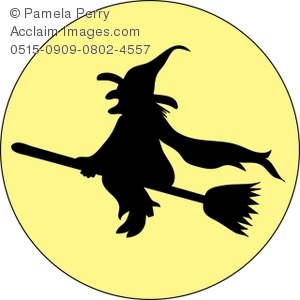 300x300 Art Illustration Of A Witch Silhouette Flying Across The Moon