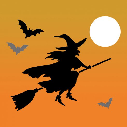 Flying Witch Silhouette Template At Getdrawings Free