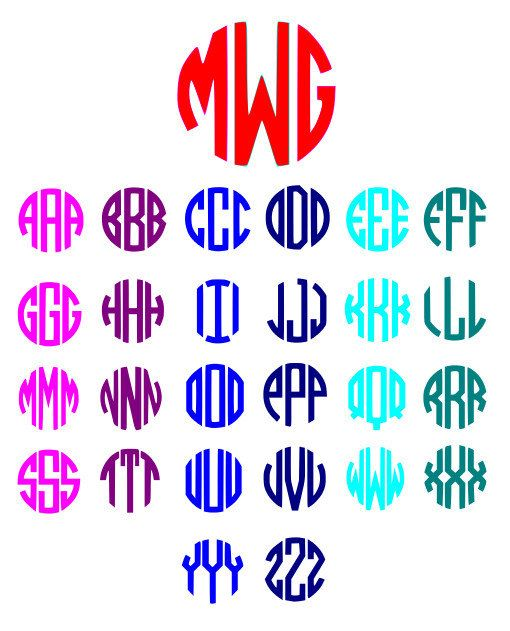 510x631 Circle Monogram Font Svg, Dxf, Ai, Eps, Cut Files For Silhouette