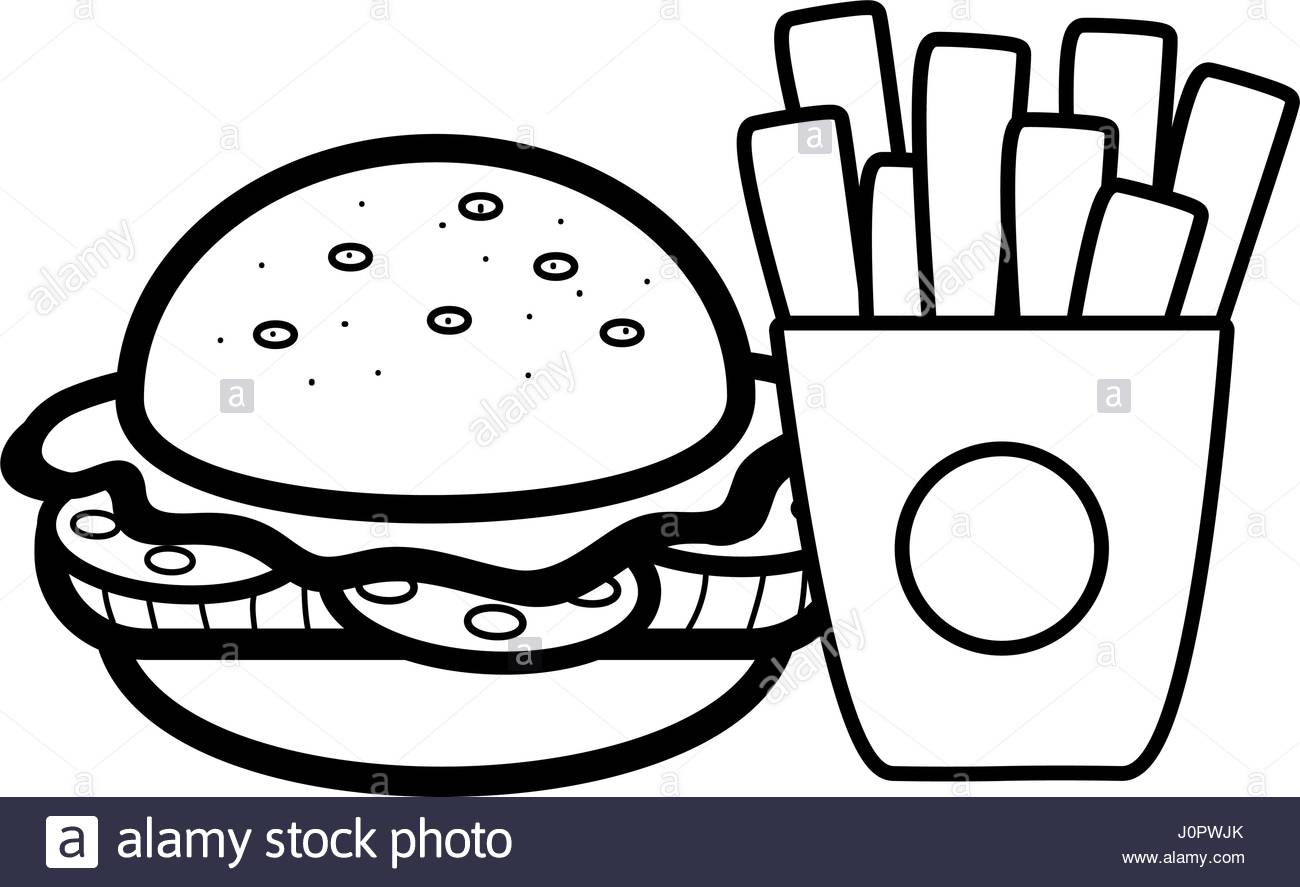 1300x887 Silhouette Hamburger And Fries French Food Icon Stock Vector Art
