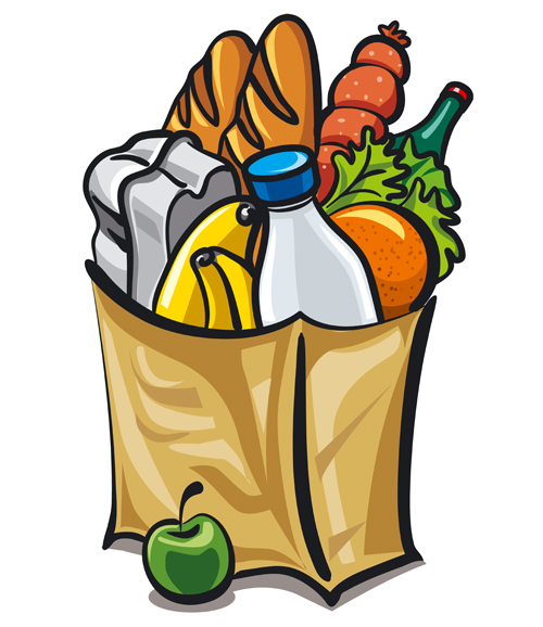 500x578 Grocery Bag With Food Design Vector 01
