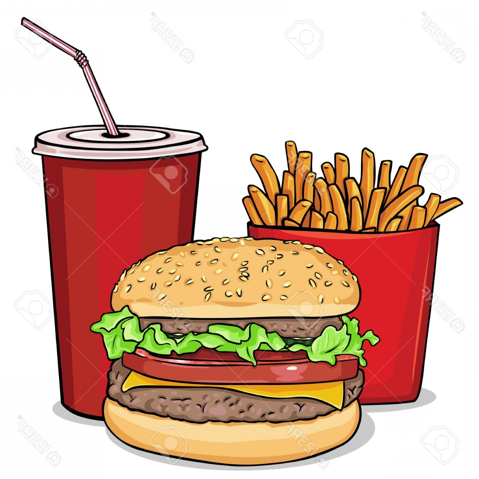 1560x1560 Photostock Vector Vector Cartoon Fast Food Combo Hamburger French