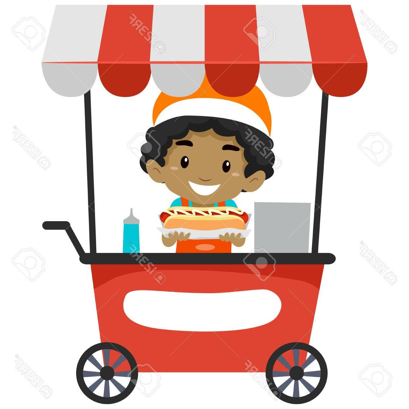 1300x1300 Best Free Vector Illustration Of Vendor Boy Selling Hotdog On Food