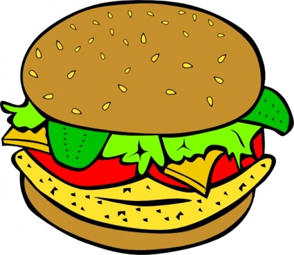 425x368 Food Menu Cartoon Meats Eggs Burger Chicken Hamburger Protein