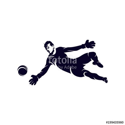 500x500 Goalkeeper Reaching Ball Silhouette Logo, Soccer And Football