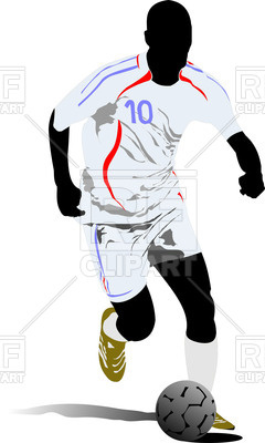 240x400 Silhouette Of Running Soccer Player With Football Ball Royalty