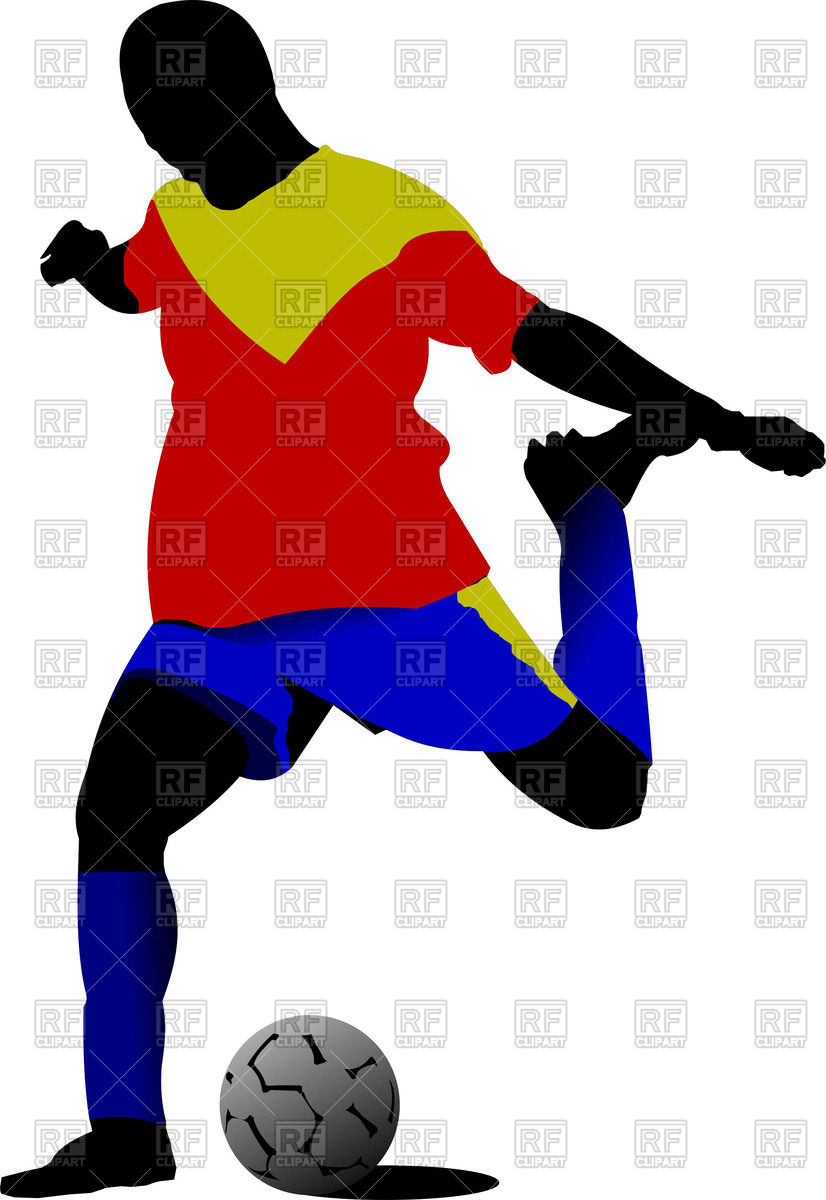 826x1200 Silhouette Of Soccer Player Kicking A Football Ball Royalty Free