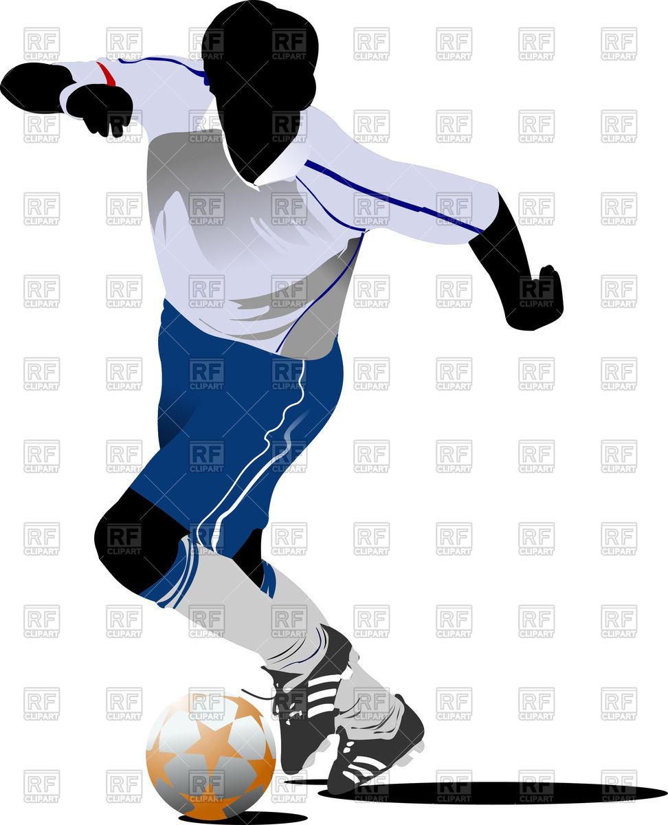 972x1200 Silhouette Of Soccer Player With Football Ball Royalty Free Vector