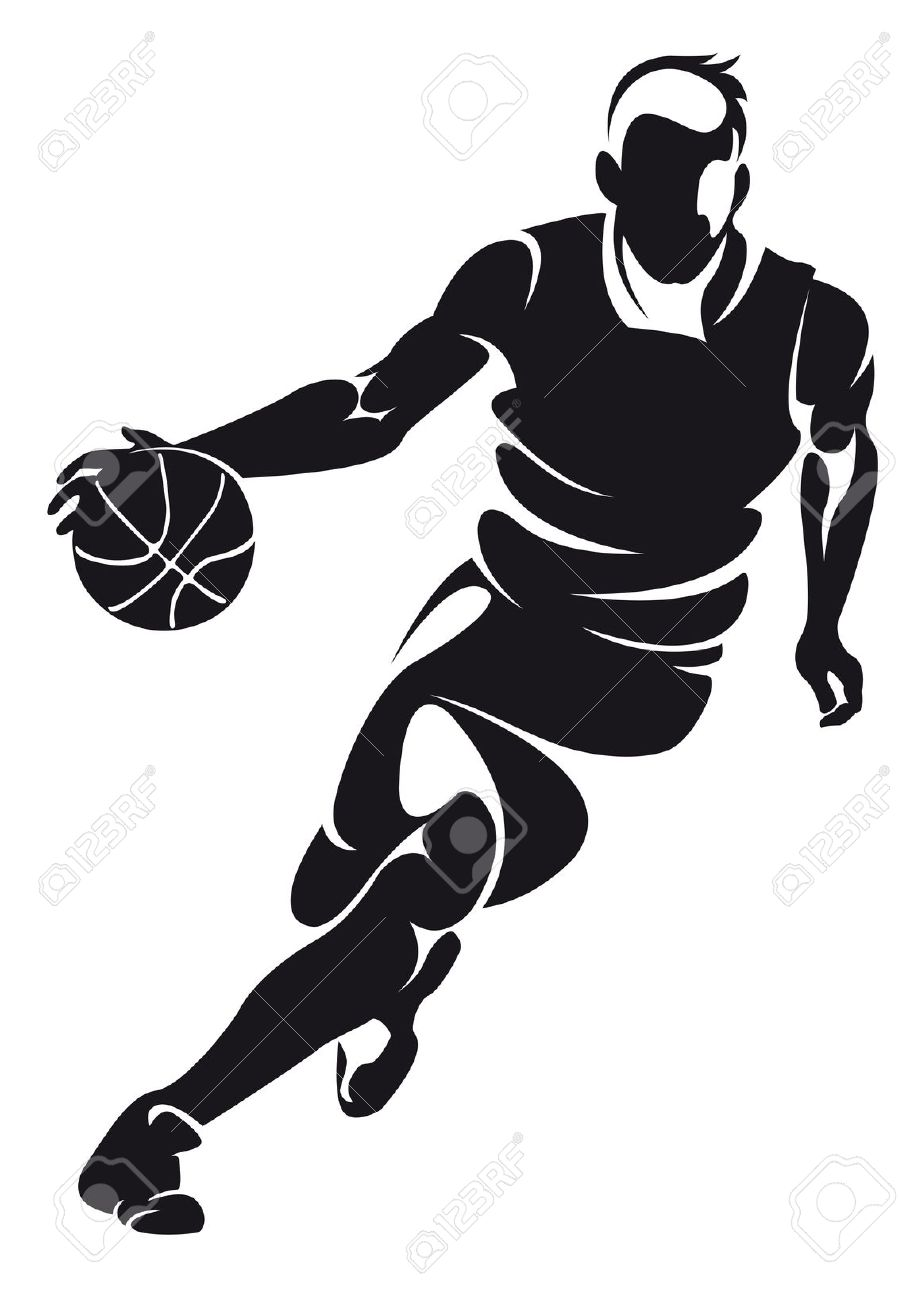 910x1300 Bold Design Basketball Player Clipart Sports Black And White