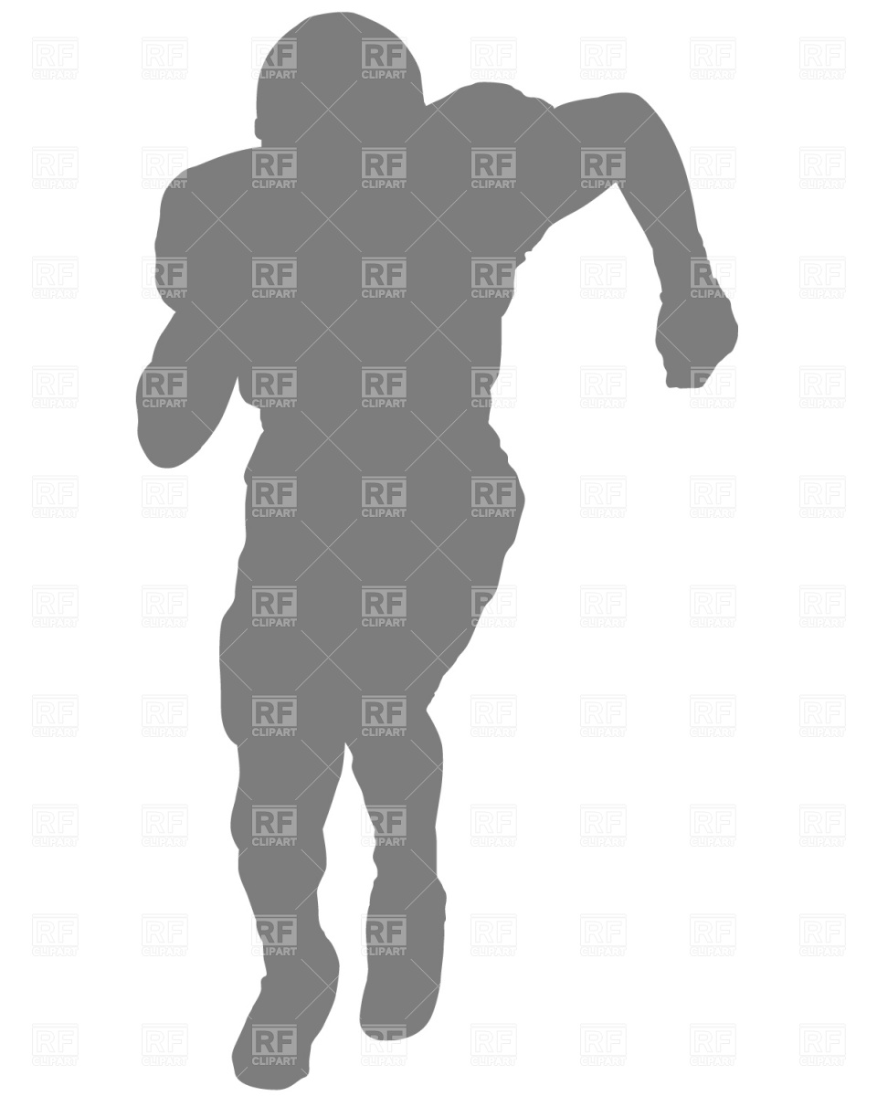 960x1200 Running American Football Player Silhouette Royalty Free Vector