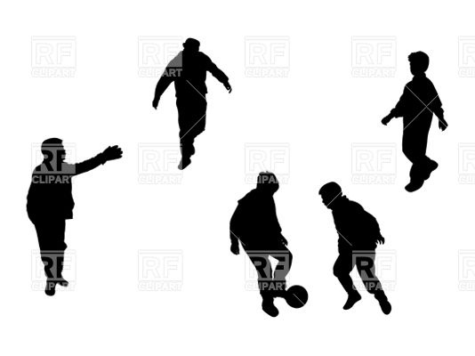 534x400 Silhouettes Of Kids Playing Football (Soccer) Royalty Free Vector