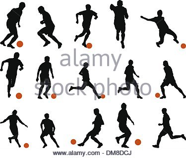 375x320 Football Players Silhouettes Set Stock Photo 47933285
