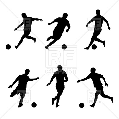 400x400 Soccer, Football Players Silhouettes Royalty Free Vector Clip Art
