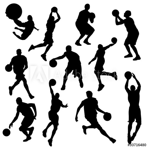 500x500 Vector Basketball Players In Silhouettes