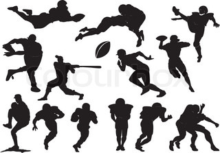 320x223 American Football Player S Silhouettes In Action. Vector