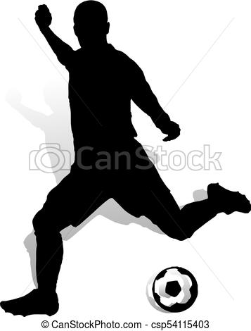 357x470 Soccer Player With Ball Makes A Punch, Silhouette On White