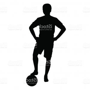 300x300 Photovector Football Soccer Player Standing Silhouette With Ball