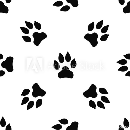 500x500 Seamless Pattern With Black Dog Track Isolated On White Background