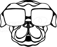 220x182 Pug Dog Sunglasses Silhouette 2 Decal Sticker