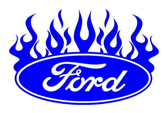 710x480 Ford Oval With Flames 3 Decal Sticker