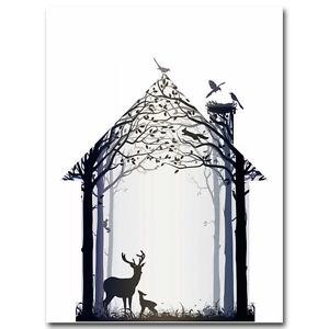 300x300 Animals Deer Forest Silhouette Minimalist Art Canvas Poster Art