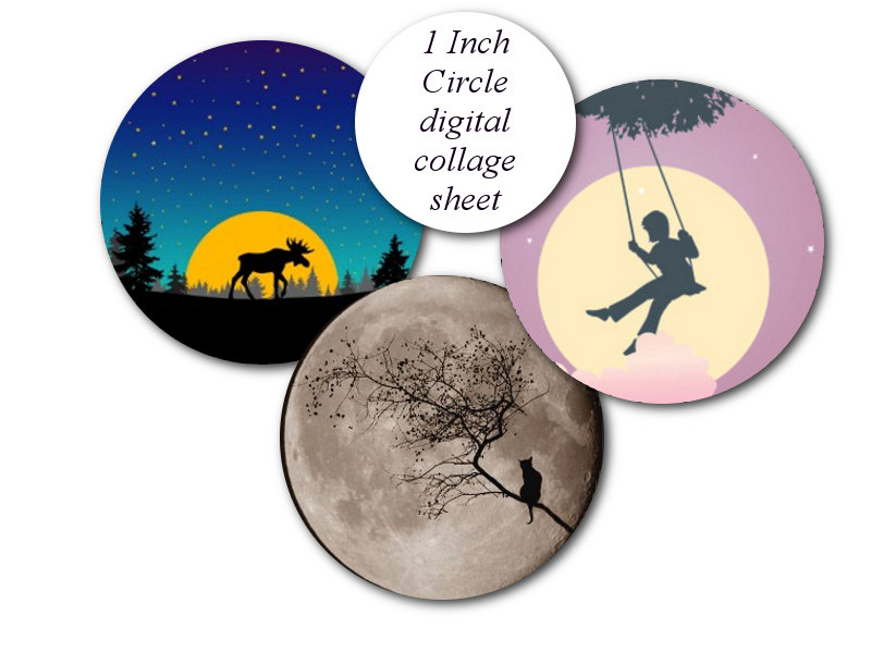 800x600 1 Inch Round Circle Harvest Moon Light Tree Mystic Forest