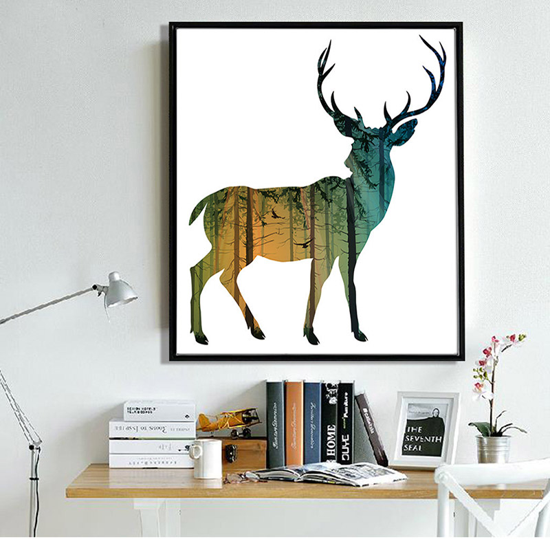 800x800 Deer Forest Silhouette Nordic Abstract Art Canvas Printing Poster